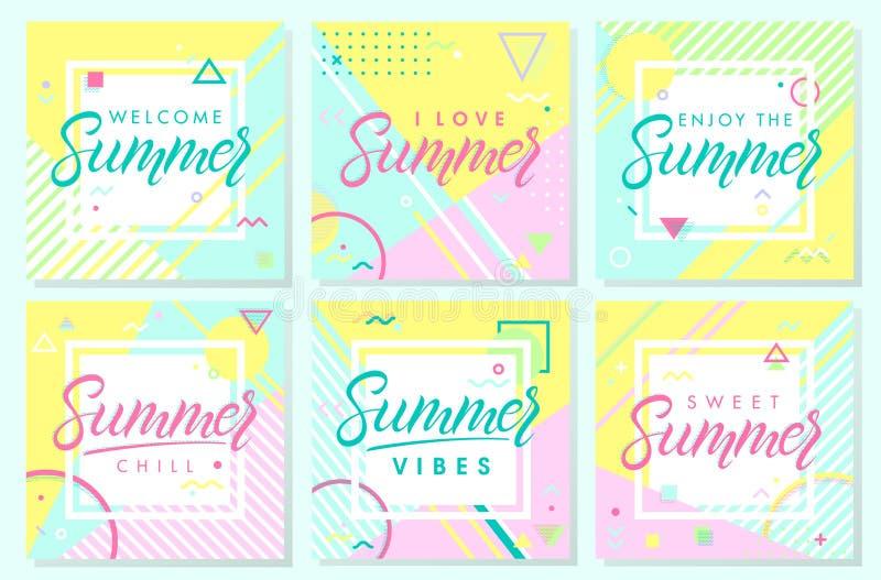 设置艺术性的夏天卡片 库存例证