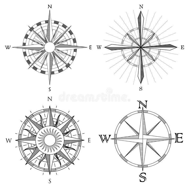 设置艺术性的指南针的例证.
