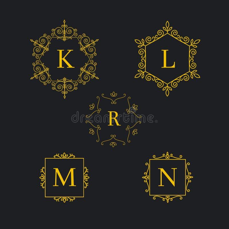 设置艺术装饰豪华经典线性单色金黄最小的行家几何葡萄酒传染媒介组合图案,框架,边界 库存例证