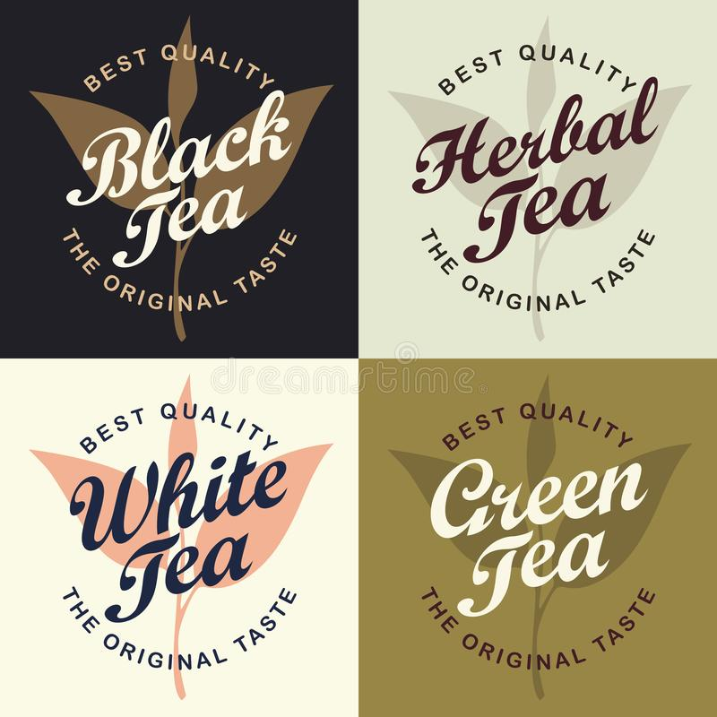 设置茶不同的四副横幅  皇族释放例证