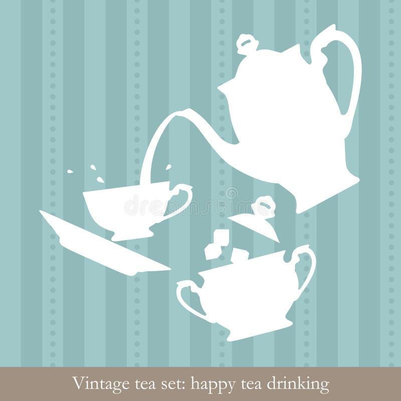 设置茶葡萄酒 皇族释放例证
