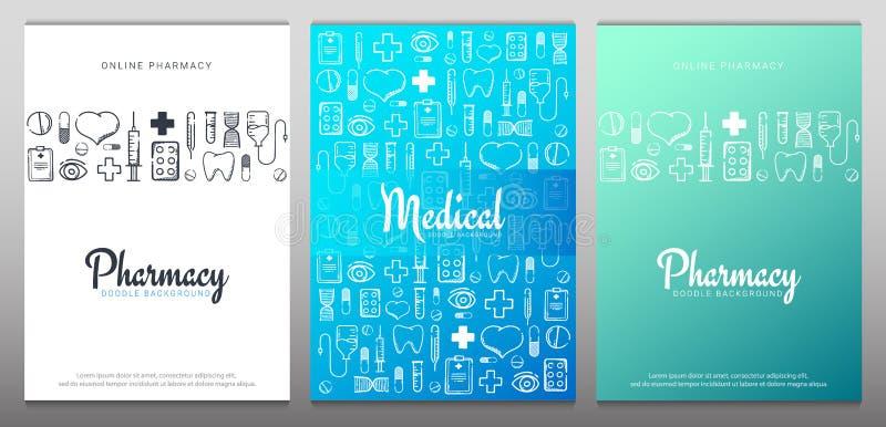 设置药房和医疗横幅有乱画背景 药片,维生素片剂,医疗药物 r 库存例证