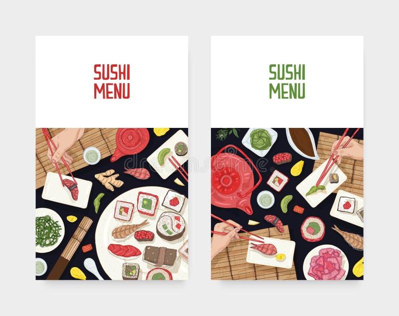 设置菜单与拿着寿司、生鱼片和卷与筷子的饭桌和手的盖子模板在黑色 库存例证