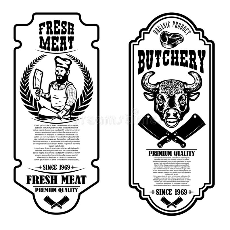 设置葡萄酒屠杀和肉商店飞行物 商标的,标签,标志,徽章,海报设计元素 向量例证