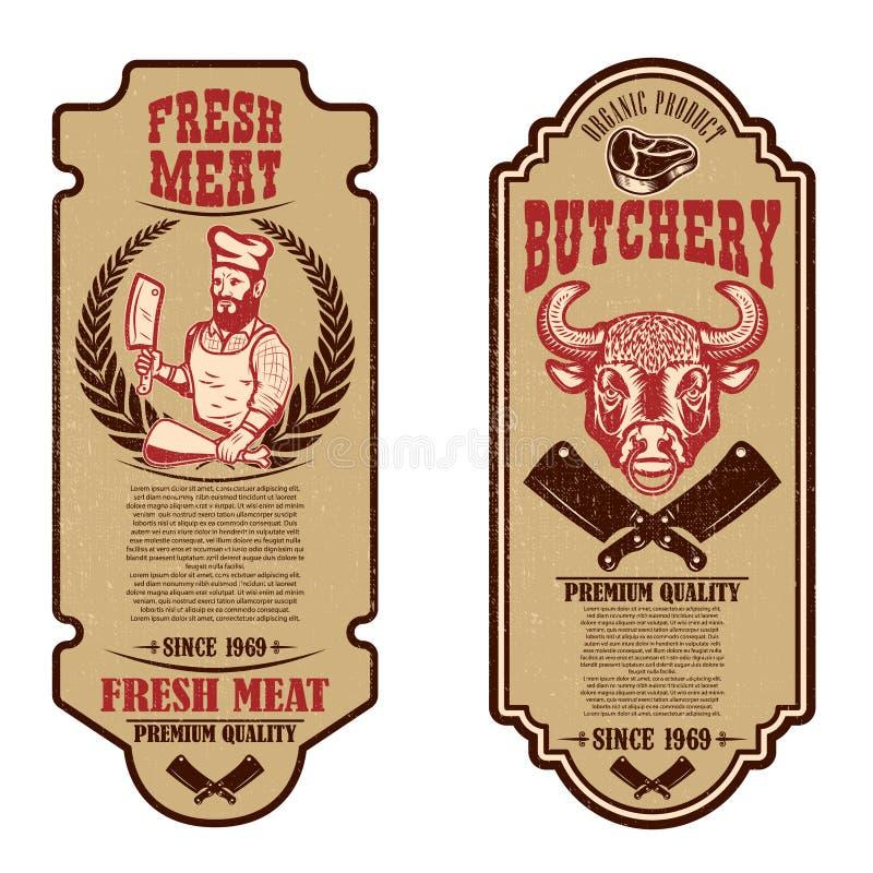 设置葡萄酒屠杀和肉商店飞行物 商标的,标签,标志,徽章,海报设计元素 皇族释放例证
