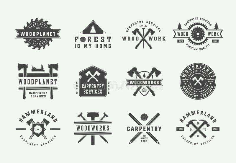 设置葡萄酒木匠业、木制品和技工标签、徽章、象征和商标 r 向量例证