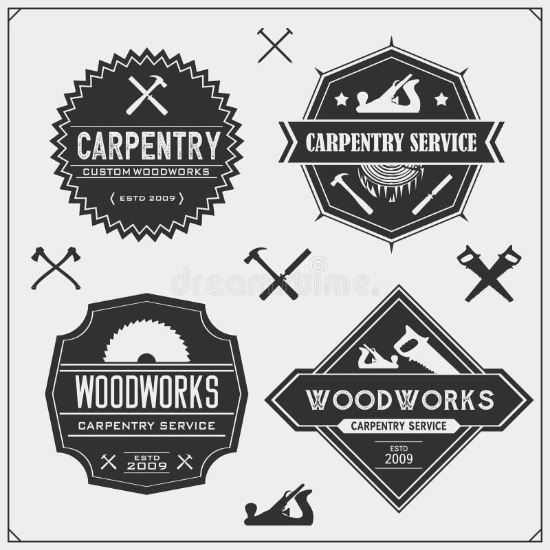 设置葡萄酒木匠业象征 木制品标签、徽章、商标和设计元素 库存例证
