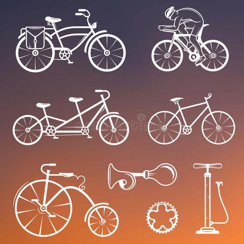 设置葡萄酒标志和剪影自行车和循环的体育 皇族释放例证