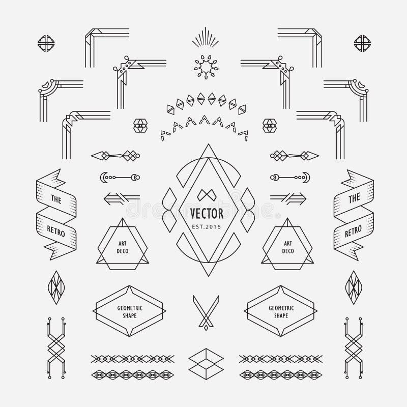 设置葡萄酒线性稀薄的线与框架角落的艺术装饰减速火箭的设计几何形状元素 皇族释放例证