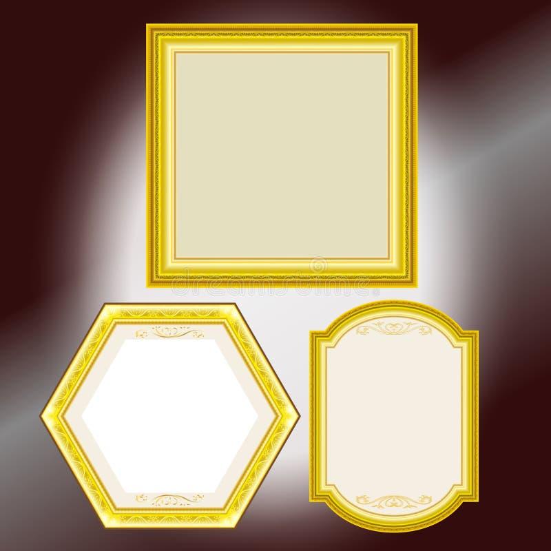 设置葡萄酒金画框设计传染媒介例证 皇族释放例证