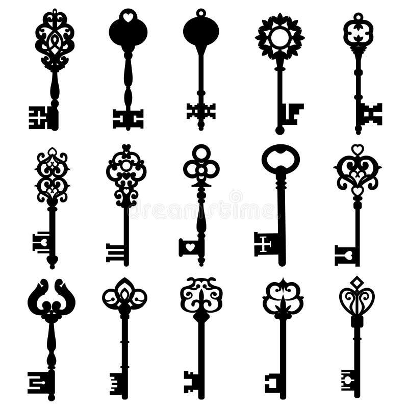 设置葡萄酒钥匙 葡萄酒钥匙传染媒介象 关键标志例证 皇族释放例证
