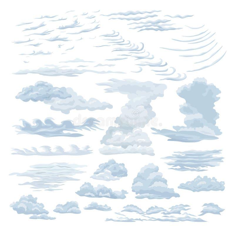 设置蒸汽云彩 波浪,稀稀落落的积云,触毛,层数云彩 库存例证