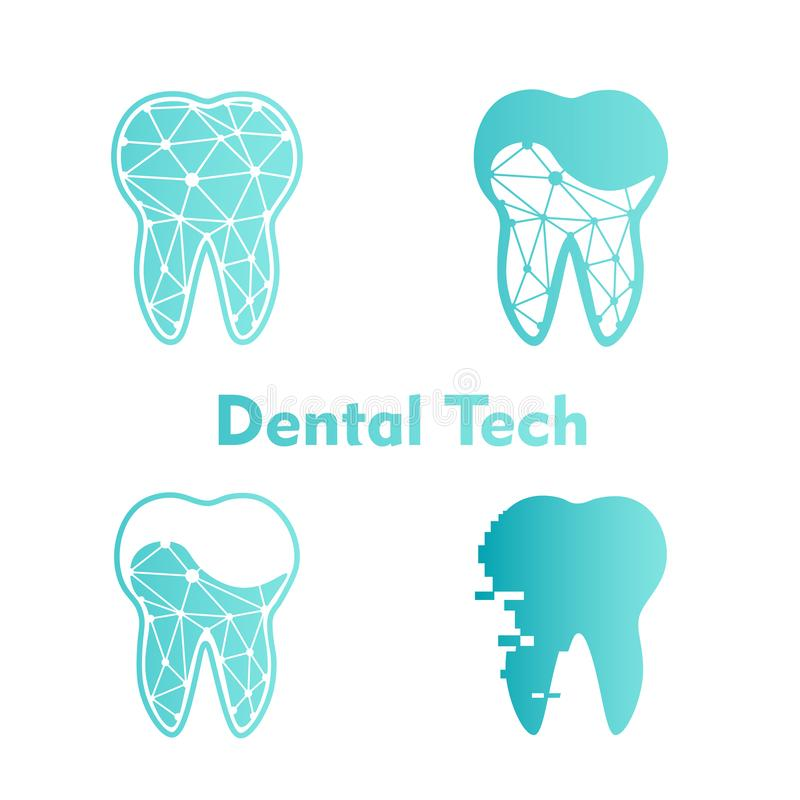 设置蓝色背景的商标牙齿技术 向量 向量例证