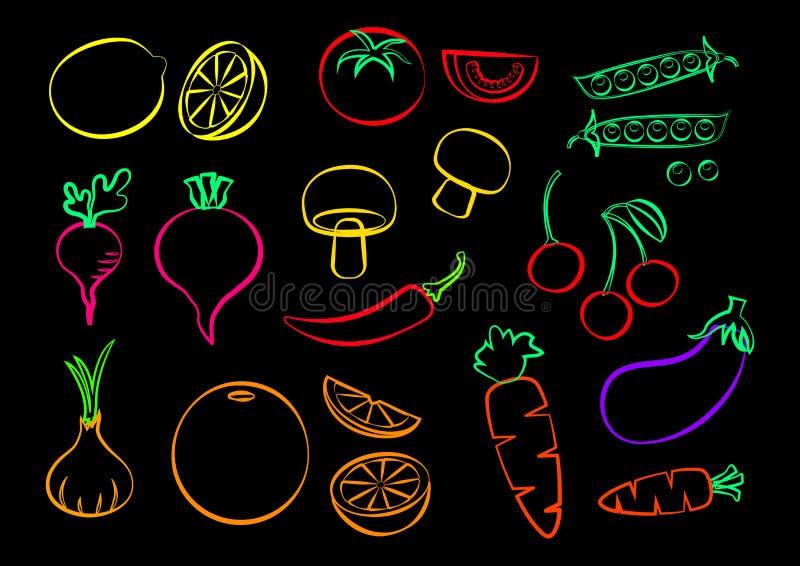 设置蔬菜和水果,五颜六色的传染媒介 皇族释放例证