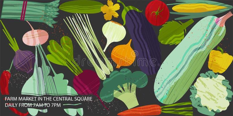 设置蔬菜 健康食物设计的传染媒介例证在公平的素食主义和的农场题目的  向量例证