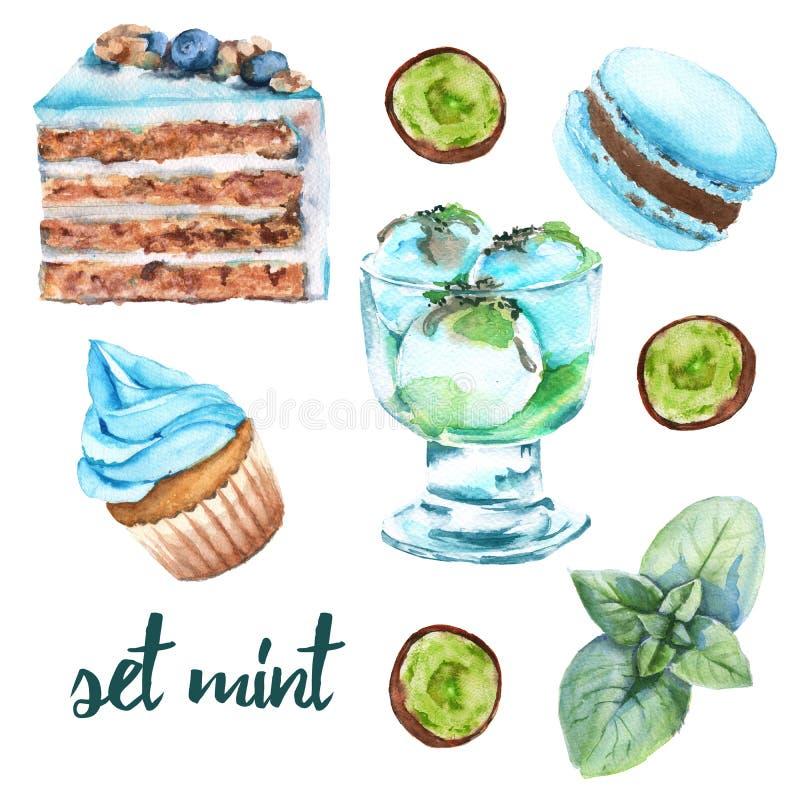 设置薄荷的甜点 蛋糕、糖果、冰淇凌和蛋白杏仁饼干 向量例证