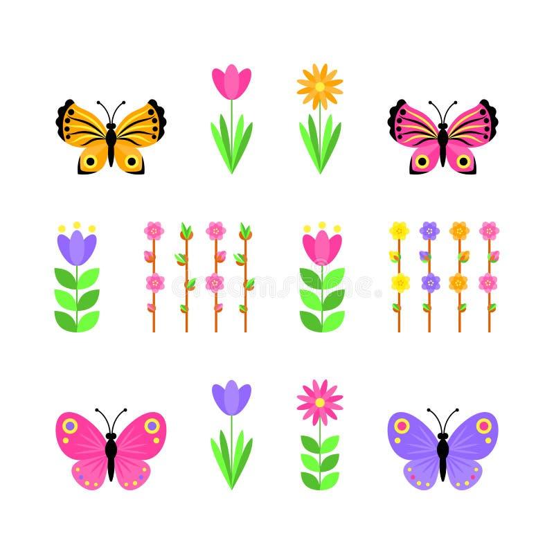 设置蝴蝶和花 r 向量例证