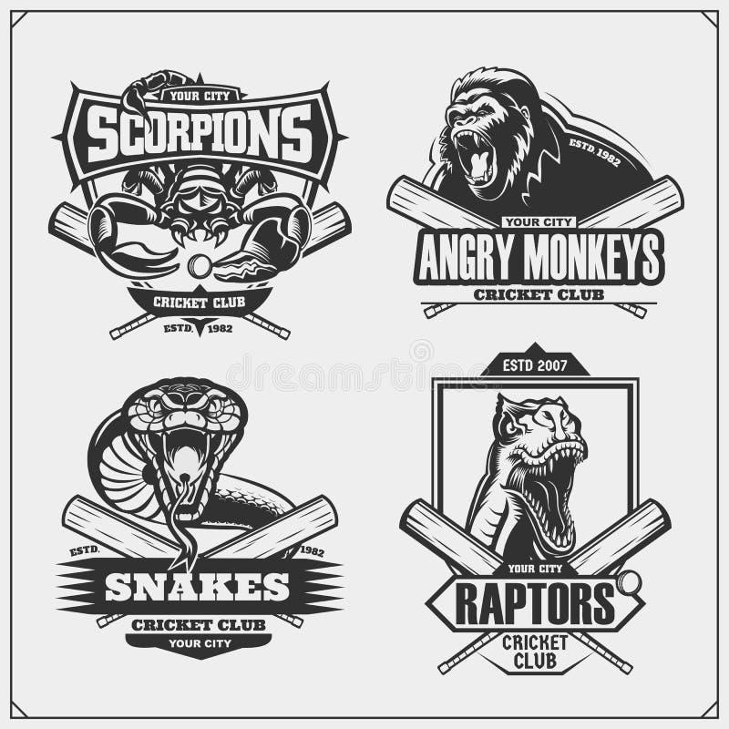 设置蟋蟀徽章、标签和设计元素 体育俱乐部象征与狮子、眼镜蛇、猛禽恐龙和蝎子 库存例证