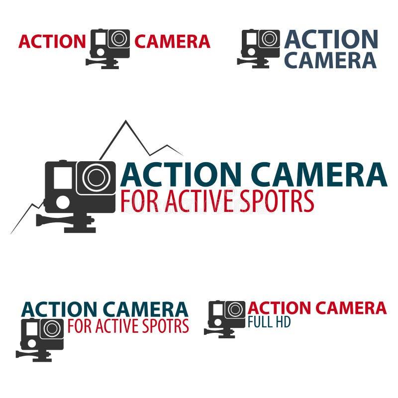 设置行动照相机商标 活跃体育的照相机 超HD 4K 皇族释放例证