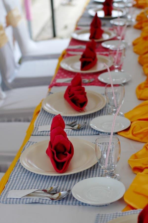 设置表婚礼 免版税图库摄影