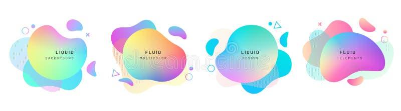 设置被隔绝的抽象液体形状,动力学 向量例证