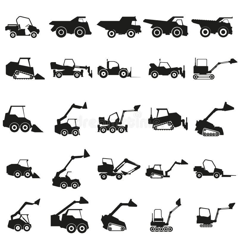 设置装载者汽车例证 向量 在白色背景的黑象 向量例证