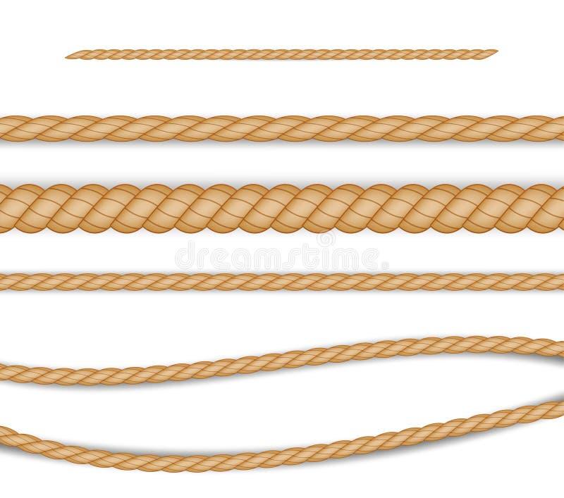 设置装饰和覆盖物的现实不同的绳索在白色背景 r 库存例证