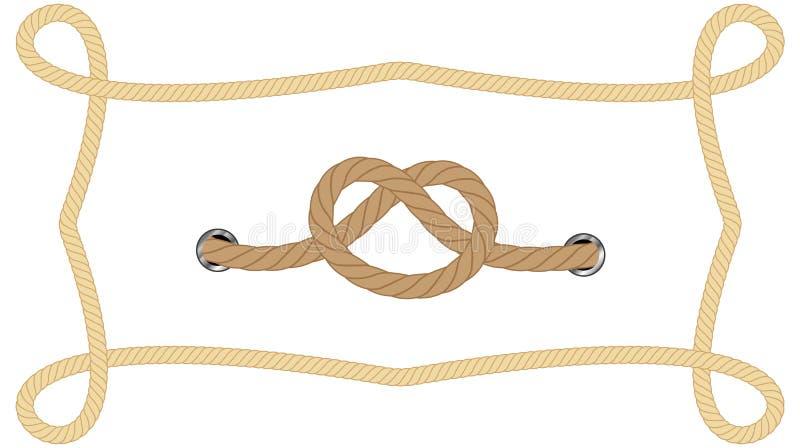 设置装饰和覆盖物的现实不同的绳索在白色背景 r 皇族释放例证