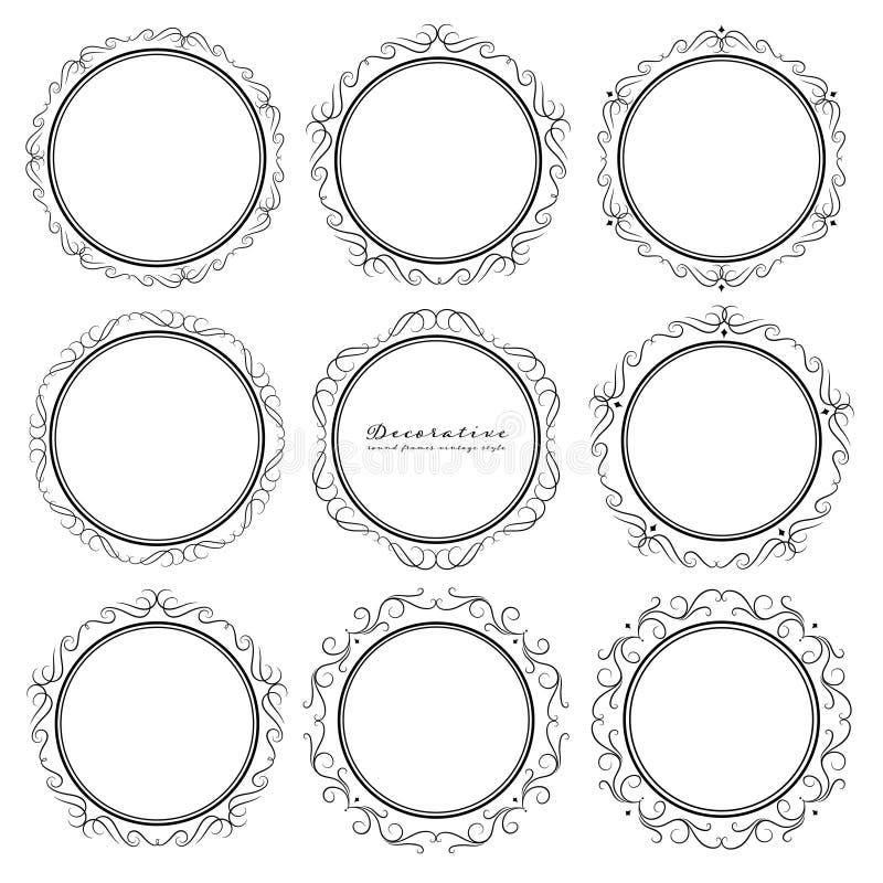 设置装饰圆的框架葡萄酒样式 库存例证