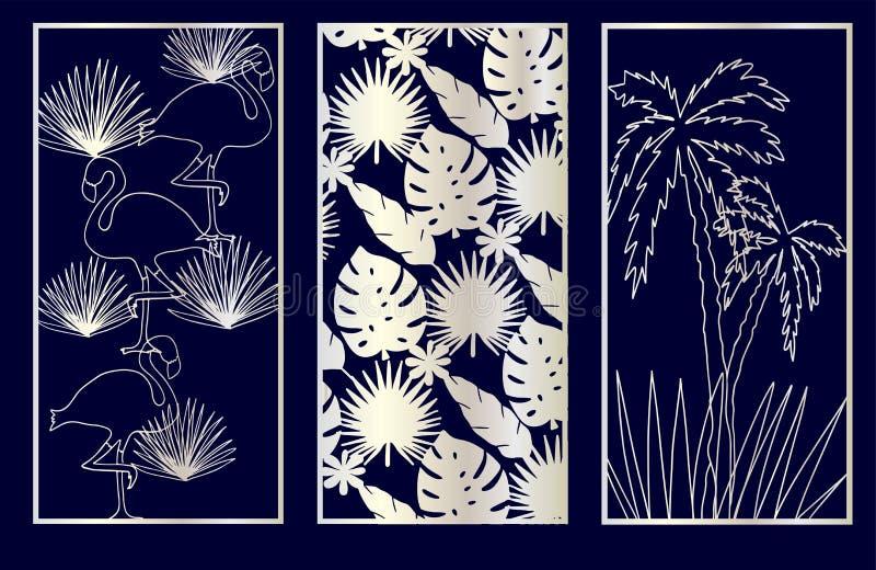 设置装饰激光切开与monstera,火鸟,棕榈树的盘区 库存例证