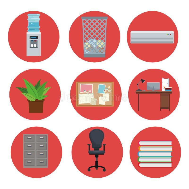 设置设备办公室元素象圈子 库存例证