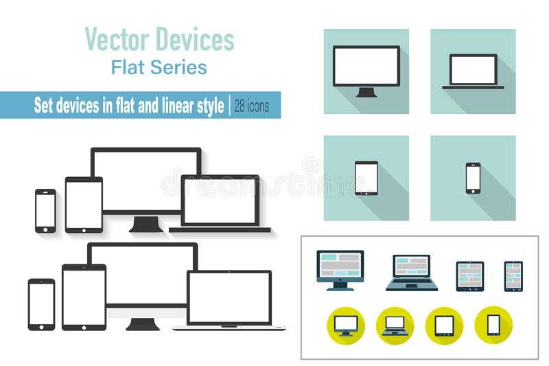 设置设备 膝上型计算机显示器片剂和电话在平或线性设计 ?? 向量例证