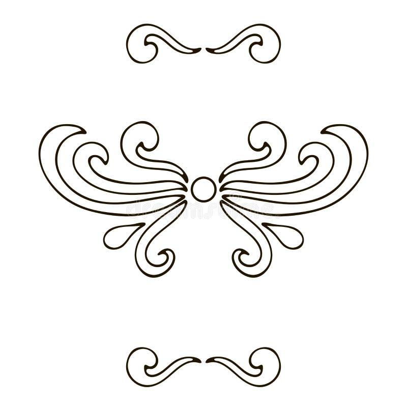 设置设计的元素:分切器、锦缎、卷毛和漩涡被隔绝 皇族释放例证