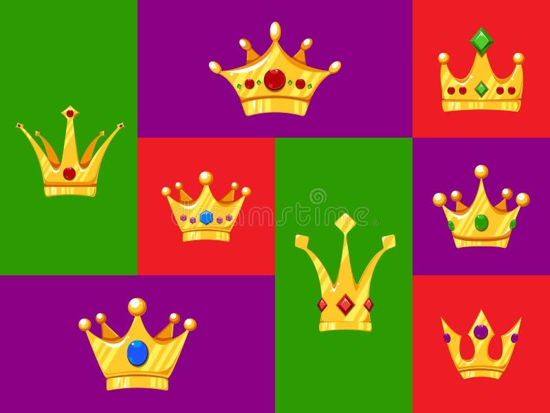设置设计的动画片冠 皇族释放例证