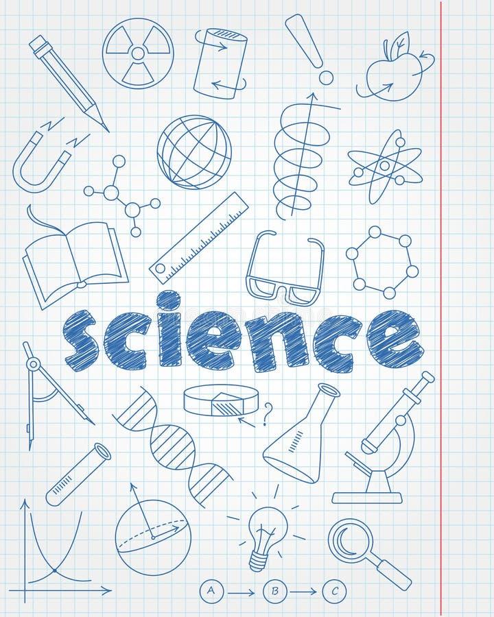 设置象关于教育和科学、蓝色等高象在干净的文字书页在笼子和inscr 皇族释放例证