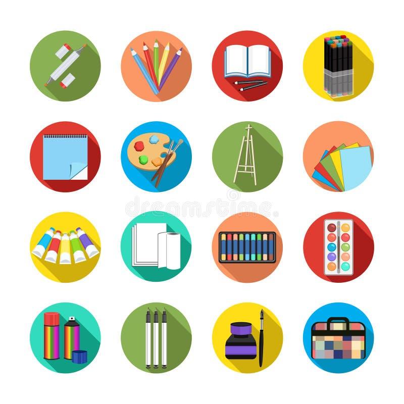 设置象艺术材料,现实艺术供应 专业艺术标志、色的铅笔、写生簿、调色板和刷子 皇族释放例证