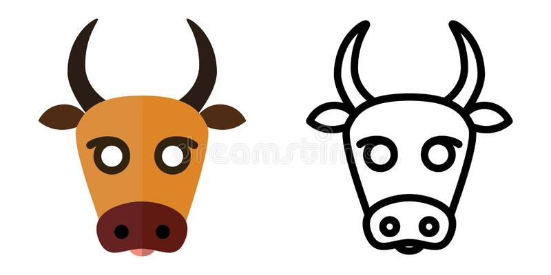 设置象-在线性和平的样式的商标母牛的头 r 皇族释放例证