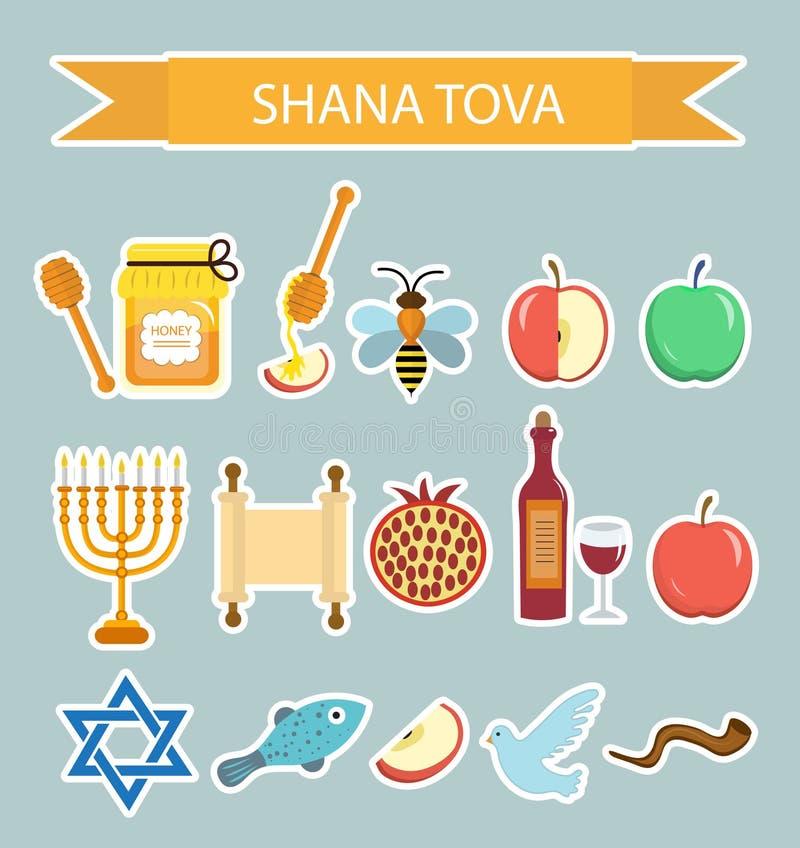 设置象贴纸在犹太新年,犹太新年, Shana托娃 动画片象贴纸平的样式 皇族释放例证