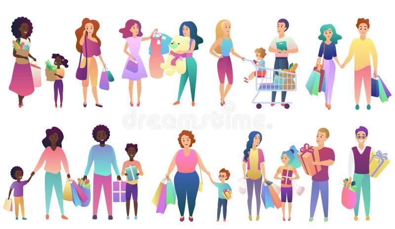 设置购物的家庭人们被隔绝的传染媒介例证集合 库存例证