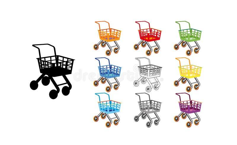 设置购物车象平的设计 玩具动画片五颜六色的设计最佳的传染媒介象 儿童s商店 向量例证