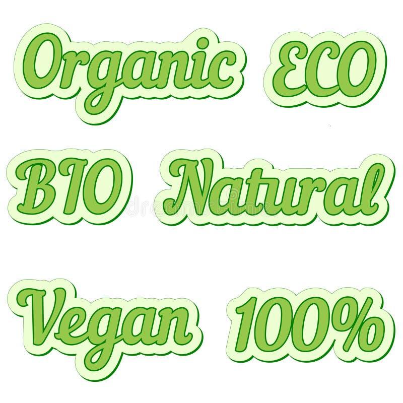 设置贴纸, eco友好和有机食品标签,标签传染媒介汇集自然生物食物的 向量例证