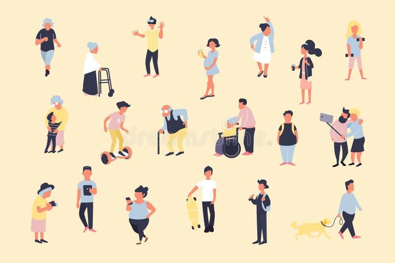 设置走在街道上的动画片人 男性和女性微小的字符人群  在trandy平的样式的五颜六色的传染媒介捆绑 库存例证