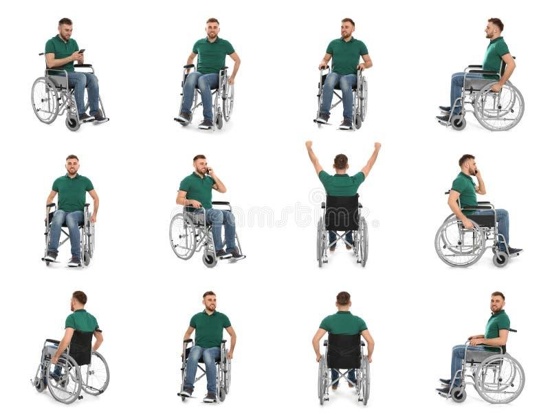 设置轮椅的年轻人 免版税库存图片