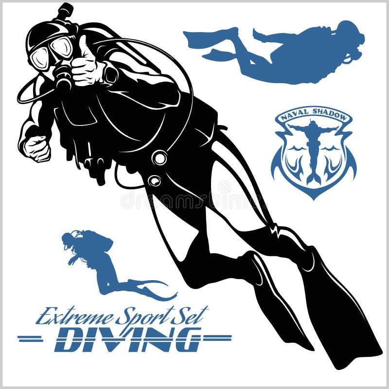 设置轻潜水员剪影和潜水的标签 向量例证