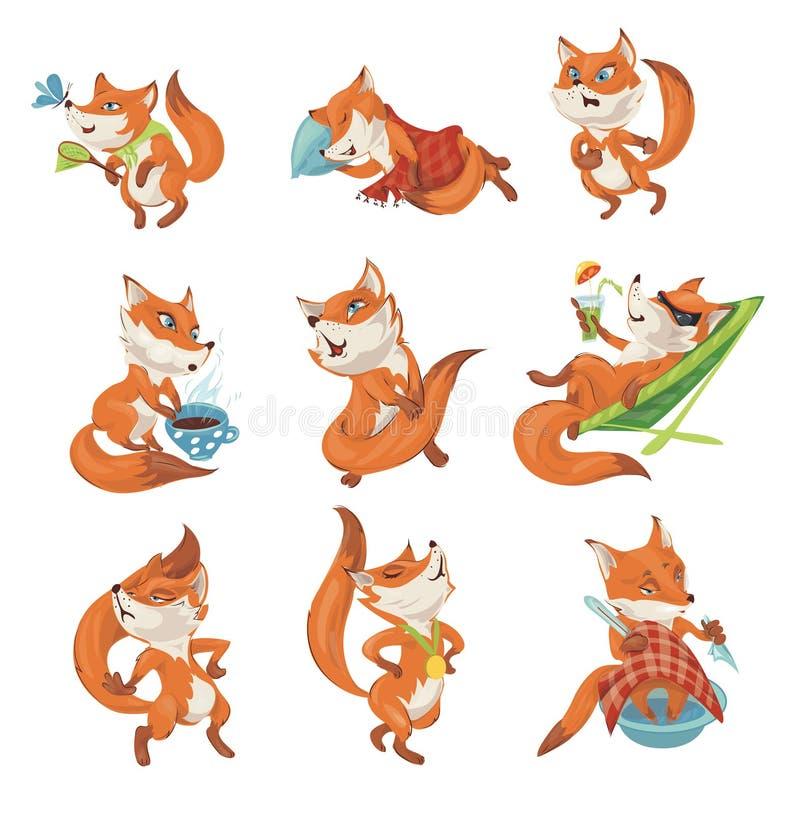 设置逗人喜爱的五颜六色的狐狸字符用不同的行动 皇族释放例证