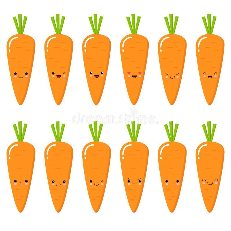 设置逗人喜爱的兴高采烈的红萝卜 设置Emoji红萝卜 微笑菜 在白色背景的被隔绝的平的传染媒介例证 向量例证