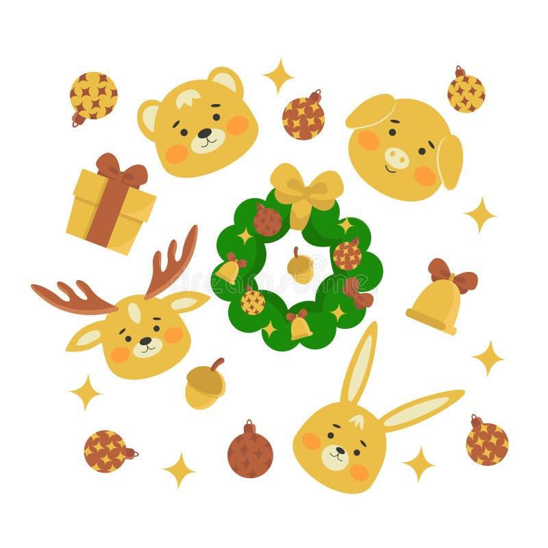设置逗人喜爱的动物,圣诞节设计 猪,鹿,熊,在动画片样式的兔子 皇族释放例证