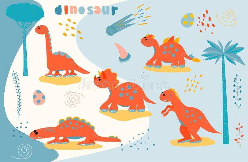 设置逗人喜爱的动画片恐龙字符 儿童的T恤杉的,毛线衣印刷品 2007个看板卡招呼的新年好 贴纸传染媒介例证 库存例证