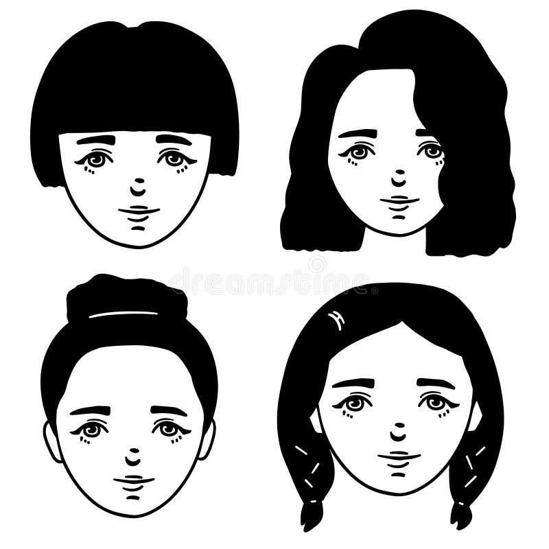 设置逗人喜爱的女孩动画片黑白剪影  乱画女孩画象的样式例证 传染媒介女性面孔 向量例证