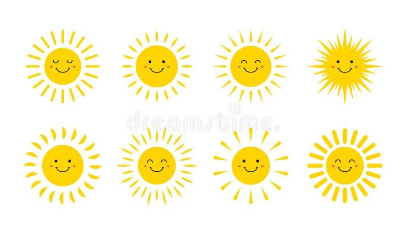 设置逗人喜爱的微笑的太阳 微笑太阳 Emoji 夏天太阳 r 向量例证